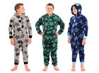 Boys Nightwear Star Print All In One (One Piece) Onesies Zip Up Front With Hoody