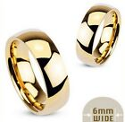 316L Stainless steel gold-plated plain wedding band, 6mm wide size 5 - 13