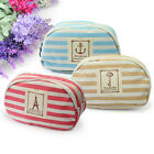 New Lovely Stripe Girl Canvas Storage Pencil Cosmetic Bag Zipper Case Wallet