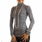 Women's Sexy Long Sleeved Tunic Top Polo Neck Turtle Neck Animal Print NEXT DAY