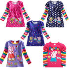 Baby Girls Peppa Pig Polka Dot Long Sleeve Rainbow T-shirt 1-6Y Top Dress Lovely