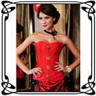 Brocade Steampunk Red Overbust Corset with Claps Fasteners Top Gothic