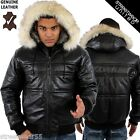 Aviatrix Bubble Hoodie Hooded Extreme Winter Genuine Leather Jacket Black