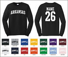State of Arkansas Custom Personalized Name & Number Long Sleeve T-shirt