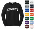 Cowboys College Letter Team Name Long Sleeve Jersey T-shirt