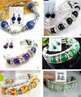 Woman's jewelry handmade Tibetan silver beads bracelet + earrings multicolor