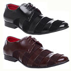 MENS BOYS BLACK LEATHER FAUX SUEDE LACE UP FORMAL SMART ROUND TOE SHOES SIZE
