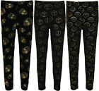 New Womens Plus Size Black Gold Leggings Ladies Long Jersey Stretch Pants 12- 26