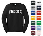 Hurricanes College Letter Team Name Long Sleeve Jersey T-shirt