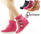 NEW Womens Fashion Ankle Boots High Top Sneakers Shoes Hidden Heel Wedge Stylish