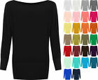 New Womens Plus Size Plain Batwing Long Sleeve Ladies Off Shoulder Top 16 - 34