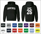 Bucks Custom Personalized Name & Number Adult Jersey Hooded Sweatshirt
