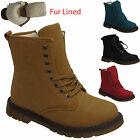 NEW LADIES FUR LINED WOMENS GIRLS ANKLE LACE ARMY BOOTS TRAINERS UK SIZES 3-8