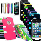 For Apple iPhone 5 Hybrid Hard Silicone Impact Phone Cover Case+Screen Protector