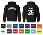 Country of Barbados Custom Personalized Name & Number Jersey Hooded Sweatshirt