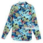 NEW Equipment Abstract Blue Oil Painting One Pocket Brett Silk Blouse Shirt XS/S