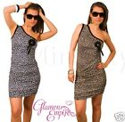 Ladies Sexy One Arm Party Holiday Dress Leopard  Animal Print One Size 8/10 177