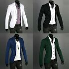 Trendy Men's One Button Suit Blazer Handsome Slim Casual Coat Jacket 4 Colors