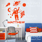 Space Rocket Planets Solar System Custom Name Vinyl Wall Decal Sticker