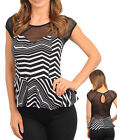 Women Black White Chevron Cap Sleeve Peplum party Top Size 8 S 10 M 12 L NEW