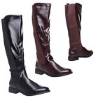 WOMENS LADIES FLAT LOW HEEL WIDE FITTING CALF KNEE HIGH RIDING ZIP UP BOOTS 3-8