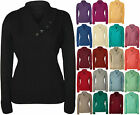 New Womens Plus Size Button Collar Long Sleeve Top Ladies Knitted Jumper 14 - 20