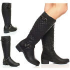 WOMENS LADIES LOW HEEL QUILTED RIDING ZIP BUCKLE WINTER CALF BOOTS SIZE