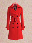 NWT WOMENS DOUBLE BREASTED RED TRENCH LOLITA PEACOAT VICTORIAN WINTER JACKET *