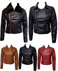 LADIES FAUX FUR LEATHER LOOK FITTED PU BIKER WOMENS ZIP QUILTED JACKET SIZE 8-16