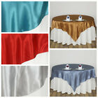 """10 Pack 90x90"""" Square SATIN Overlays Wedding Beautiful Table Linens - 27 colors!"""