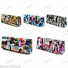 Multi Coloured Faux Leather Newspaper Magazine Print Clutch Evening Bag #906