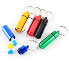 1pc Waterproof Aluminum Pill Box Stash Capsule Container Keyring 5 Colors
