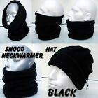 MADE in UK - BLACK snood fleece ski biker neck warmer balaclava hat ADULT KIDS