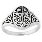 Sterling Silver Celtic Knot Tree of Life with Sun and Moon Band Ring Sizes 4-15
