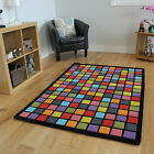 Ultra Modern High Quality 100% Wool Colourful Funky Squares Soft Thick Retro Rug