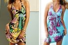 Leaf Print Bali Style Beach Wear Swim Wear Nylon Bikini Cover Up Summer Dress