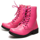 Hot Pink Lace Up High Top Ankle Bootie Combat Military Low Heel Flat Boot US5-10