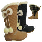 KIDS GIRL QUILTED DIAMANTE POM POM SNOW FUR GRIP SOLE CALF BOOTS SHOES SIZES