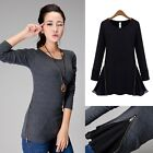 Womens  Long Sleeve Chiffon Celeb Style Crew Neck Zip Casual Shirt Blouse Tops