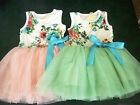 GIRL PINK & GREEN KIDS CLOTHES VINTAGE FLOWER LACE TUTU DRESS PARTY WEDDING