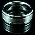 Mens Tungsten Carbide Ring Brushed Dual Grooved Wedding Band 8mm