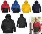 MEN'S 1/4 ANORAK, PACKABLE, HOOD, PULLOVER, WIND/WATER RESISTANT, POCKETS, S-4XL