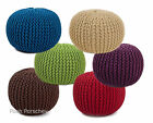 QUALITY HAND KNITTED ROUND FOOT STOOL REST POUFFE POUF BAG SEAT BEAN OTTOMAN