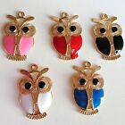 5 -20 Owl Enamel Charms Gold Tone Ideal Crafts Jewellery Making UK Seller