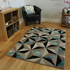 Bold Teal & Grey Carved Abstract Design Thick Carpet Cheap Designer Wool Rugs UK