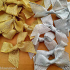 10 x gold or silver lurex ribbon bows  15mm ribbon width - bow 60mmx 50mm