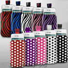POLKA DOT & ZEBRA (PU) LEATHER PULL TAB POUCH COVER CASE FOR MOST HTC MOBILES