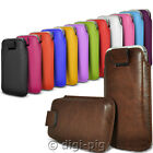 COLOUR (PU) LEATHER PULL TAB POUCH COVER CASES FOR MOST BLACKBERRY MOBILE PHONES