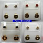 24ct Gold Plated STERILE Claw Set Gemmed STUD EARRINGS - Sold in pairs