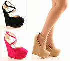 NEW LADIES WOMENS PLATFORM WEDGE STRAPPY BUCKLE PARTY SANDALS HEELS SHOES SIZE